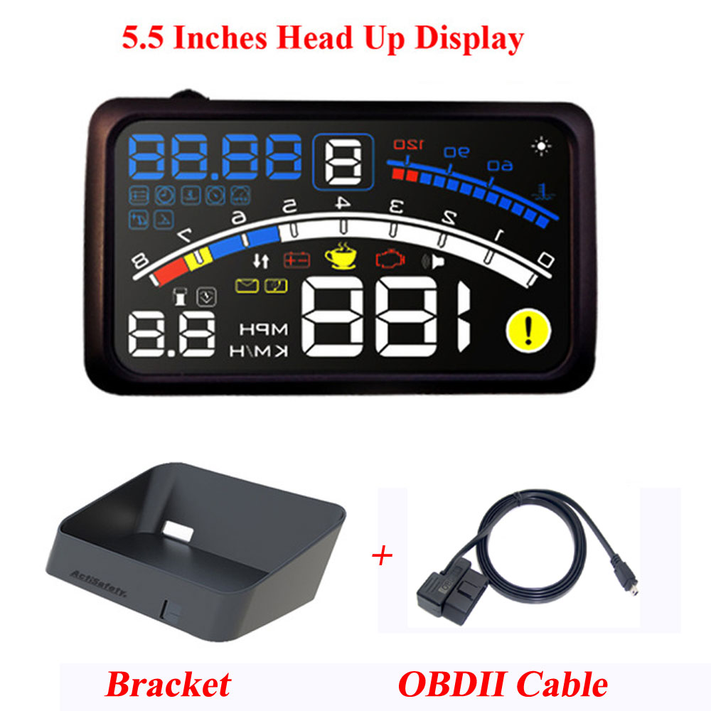 ActiSafety ASH-4E 5.5 Inches Auto OBD2 II EUOBD Auto HUD Head Up Display Met Beugel Auto Snelheidswaarschuwing Systeem 4E HUD Auto