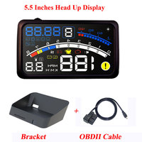 ActiSafety ASH 4E 5.5 Inches Car OBD2 II EUOBD Car HUD Head Up Display With Bracket Car Overspeed Warning System 4E HUD Car