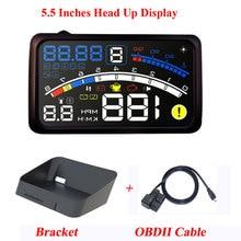 ActiSafety ASH 4E 5,5 Zoll Auto OBD2 II EUOBD Auto HUD Head Up Display Mit Halterung Auto Überdrehzahl Warnung System 4E HUD Auto