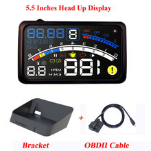 ActiSafety ASH 4E 5.5 cala samochód OBD2 II EUOBD wyświetlacz samochodowy HUD Head Up z uchwytem system ostrzegania przed przekroczeniem prędkości samochodu 4E HUD