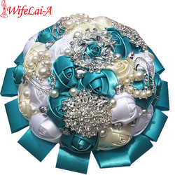 Factory price luxury bouquet white ivory mixed flower wedding bouquet colorful ribbon wedding decoration flower durable.jpg 250x250