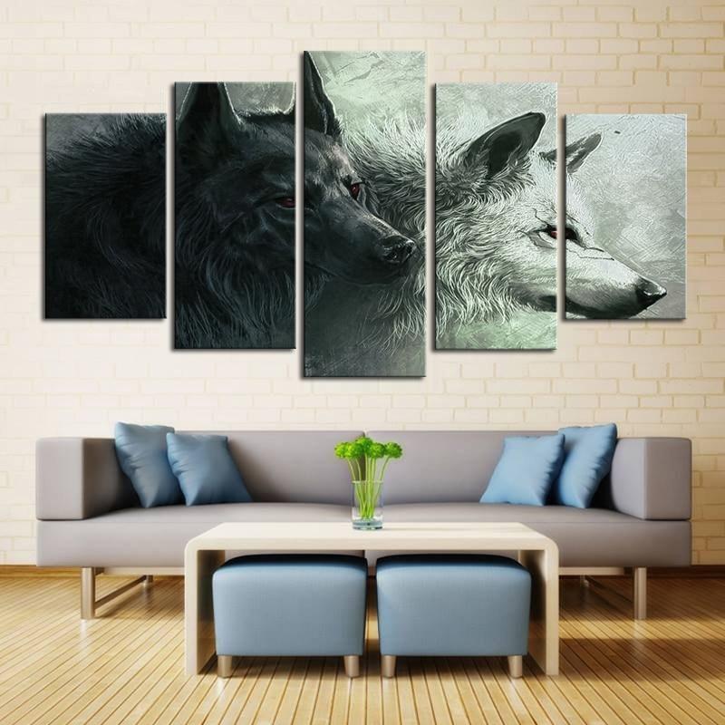 Impresión de arte cartel 5 unidades pareja Lobo pintura al óleo ...