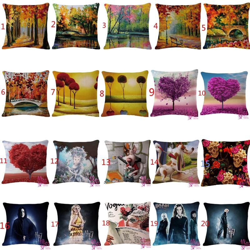 Fashion European Home Cushion Beautiful Forest Throw Pillows Car Decoration Cushion Cove Tree Birds Throw Pillow