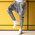 Feminino masculino personalidade prata big crotch calças trajes de desempenho palco harem pants mens hip hop calças skinny