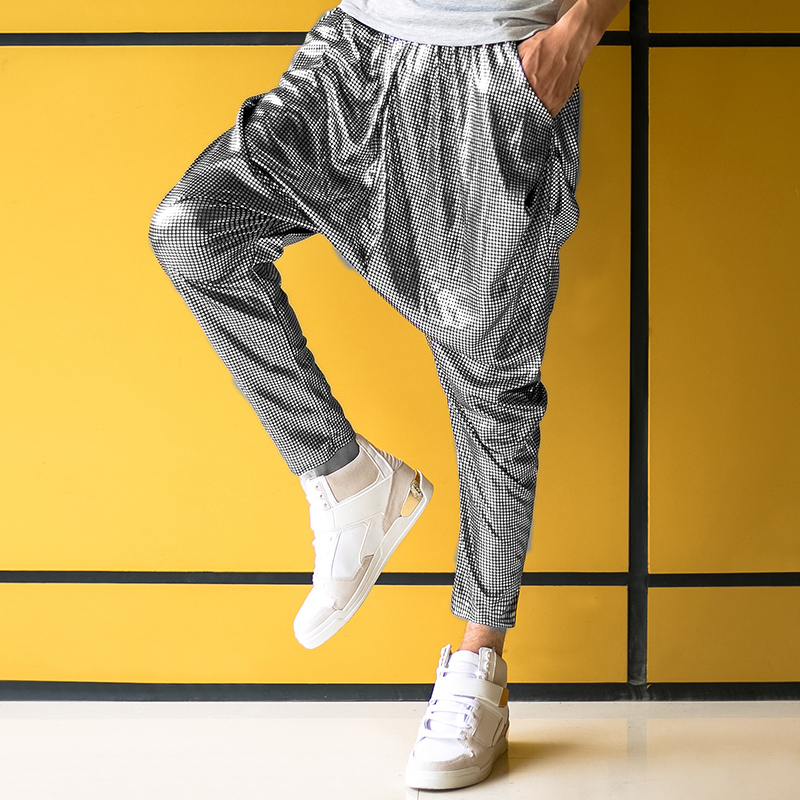 Male Female Personality Silver Big Crotch Trousers Stage Performance Costumes Harem Pants Mens Hip Hop Skinny Pants