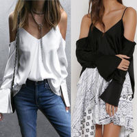 New Sexy Women Long Sleeve V Neck Strap T-Shirt Casual Loose Tops Blusa Woman Clothes