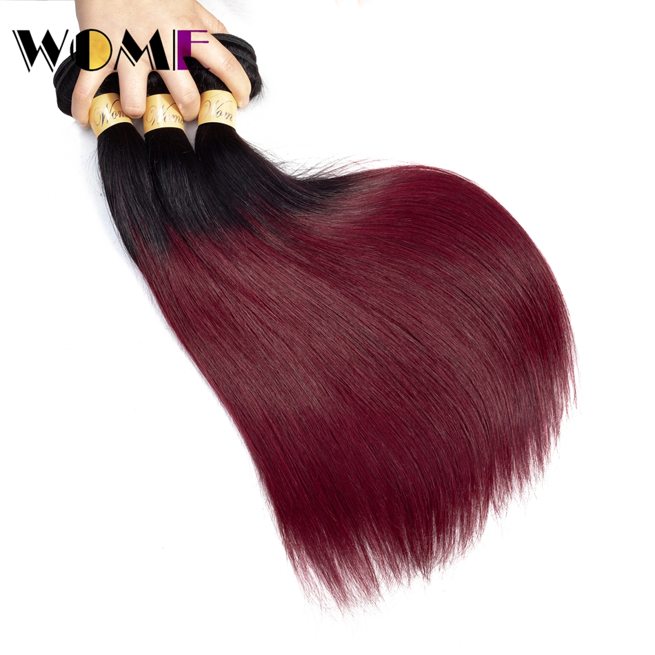 Hair Weaves Discreet Wome T1b/99j Ombre Indian Human Hair Weave 2 Tone Color Straight Hair 3 Bundles Black To Red Wine Color Hair Extensions To Suit The PeopleS Convenience