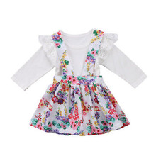 Toddler Girls Baby Long Sleeve Cotton Outfit Tutu Strap Floral Outfits Set Party Clothes