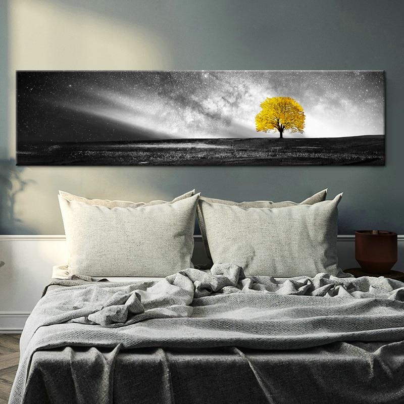 Nordique jaune paysage noir blanc toile peinture affiches et imprimer mur Art photos pour salon chambre décor moderne