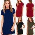 Mini dress женщины повседневная dress плюс размер женская одежда С Коротким рукавом назад молния О-Образным Вырезом Летние Платья Черный Повседневная Office Dress