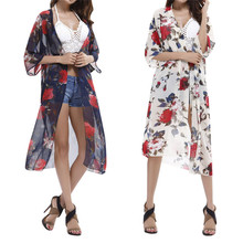 Sexy Cover Up Womens Bathing Suit Flower Print Cover Up Beach Bikini Tunic Kaftan Cape Swimsuit Swimwear Dress