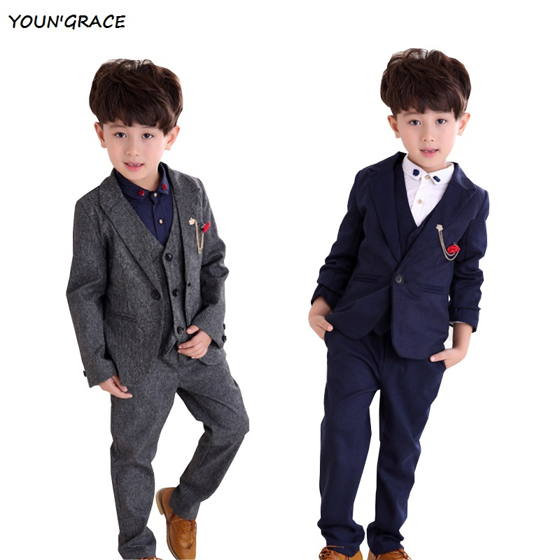 2015 New Design 3PCs Flower Boys Formal Weddings Suits Brand England Style Kids Winter Vest Suits Boys Tuxedos Blazers, YC049 boys formal suits set weddings birthday child kids fashion party tuxedos boys plaid formal suits blazer vest pants 3pcs h027