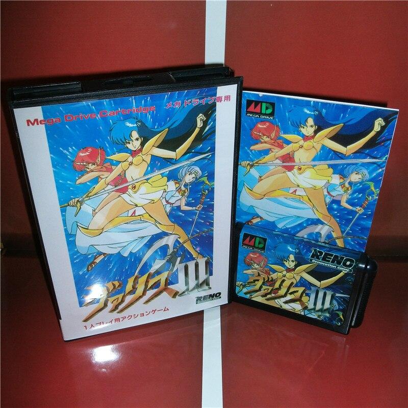 Mugen Senshi Valis 3 Japan Cover with box and manual For Sega Megadrive Genesis Video Game Console 16 bit MD card