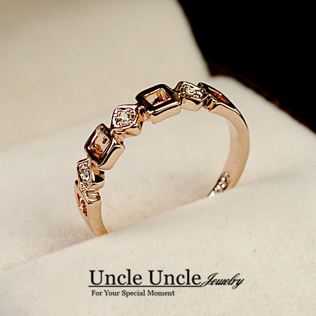 Simple Style Rose Gold Color Geometric Element Rhinestone Classic Office Lady Finger Ring Wholesale
