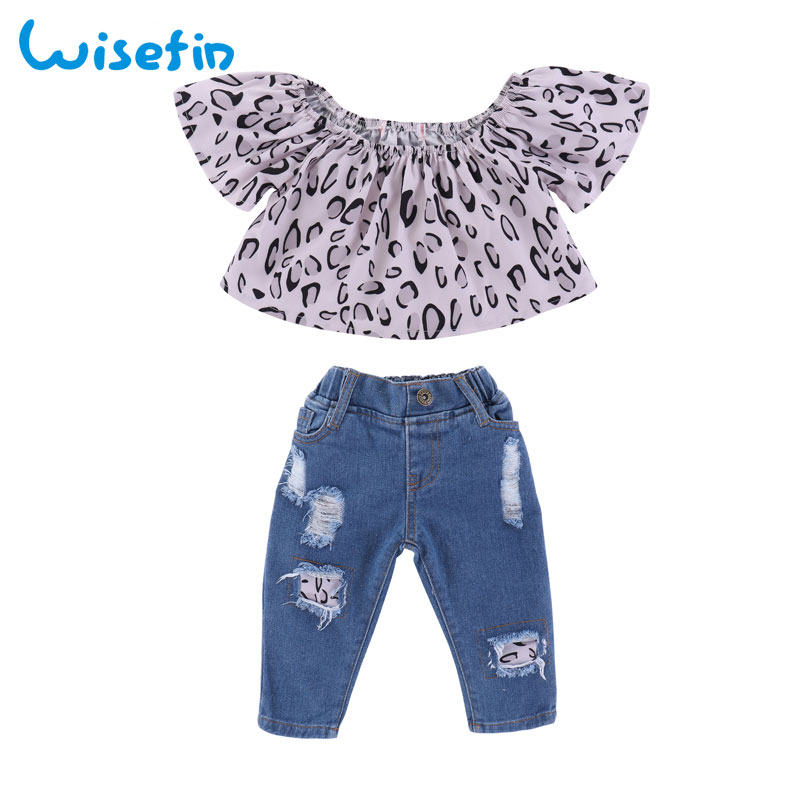 Wisefin Toddler Girl Clothing Set Leopard Baby Girls Tops Infant Clothes Outfits Cute Kids T shirt+Ripped Jeans Summer Clothes