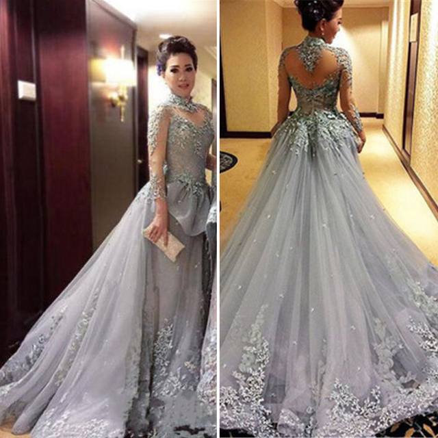 2dca3d14d5de6 Elegant Grey Princess Ball Gown Evening Dresses High Neck Long Sleeve  Vintage Prom Dresses Appliques Court Train Evening Gowns