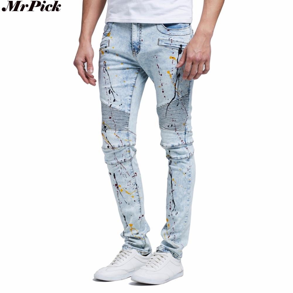 2016 Men   Jeans   Design Fashion Biker Runway Hiphop Slim   Jeans   For Men Cotton Good Quality Motorcycle   Jeans   Blue Black Y2051