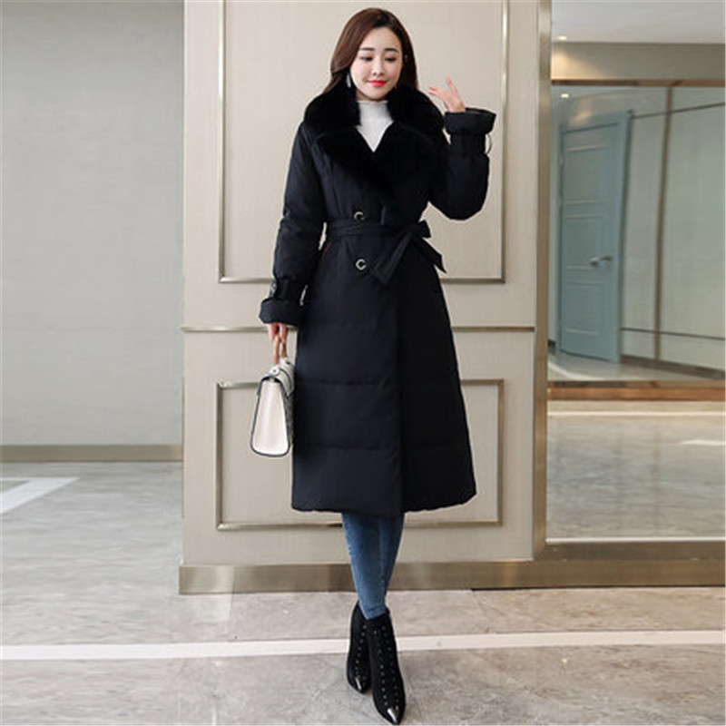 Winter Female Down Jacket 2018 New Fashion bundle Waist Outerwear Coats Korean Large Size Long Big fur collar Female parkas X796