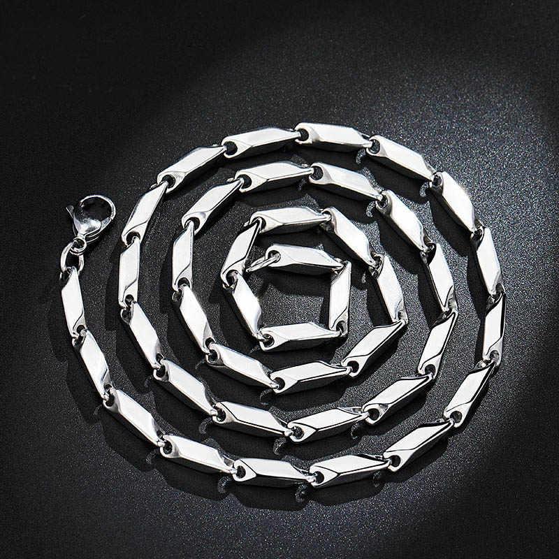 Titanium Stainless Steel Melon Rantai Kalung Lobster Gesper Hombre Ketting Mannen Rantai Panjang DIY Perhiasan Aksesoris 3 Mm 60 Cm
