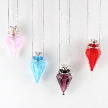1 шт духи из муранского стекла ожерелье красочные бутылки с конусом, ароматическое украшение, ароматическое ожерелье кулон