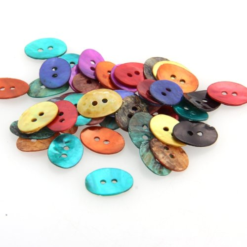 50 PCS 15 x 11 mm Pearl Mussels Button New TOP