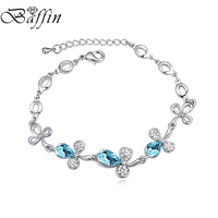 Baffin Crystals From SWAROVSKI Cute Flowers Charm Bracelets Bangles Silver Color Jewelry For Women 2017 Gifts