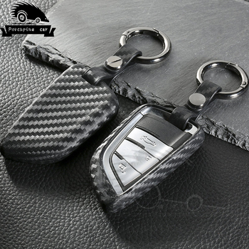 Carbon fiber Silica gel Cover Case Remote Key Car Case For BMW F20 F30 X1 X3 X5 X6 E30 E34 E36 E39 E46 E60 E90 Key Shell image