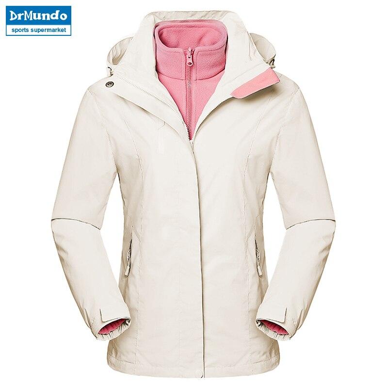 2018 Nouveau Étanche Ski veste Polaire Blanc Coupe-Vent Neige Vêtements Thermique Femmes de Double de Bord Unique Combinaison de Ski de Randonnée Veste