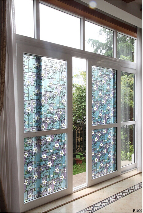 Matt Flower window glass film Bathroom stickers without glue Vinyl whole colorful decals Explosion proof grilles paper 45*100cm the window office paper sticker pervious to light do not transparent bathroom window shading white frosted glass tint