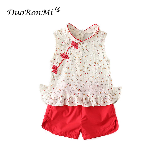 79da68259eb2 New Summer Baby Girls Set Kids Clothes Sets Outfits Infant Suits Chinese  Tops Dresses Short Pants Princess Qipao Cheongsam Set