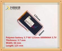 Литий-полимерная батарея 3766125 3.7 В 6000 мАч V811 с плоской защиты аккумулятора