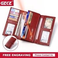 GZCZ 2018 Wallet Female Genuine Leather Free Engraving Name Long Wallet Handy Purse Fashion Card Holder Lady Wallets Portomonee