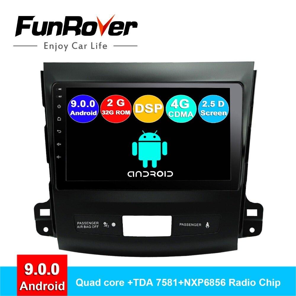 Lecteur dvd de voiture FUNROVER android 9.0 2din pour Mitsubishi Outlander 2006-2014 Peugeot 4007 citroën c-crosser radio gps stéréo