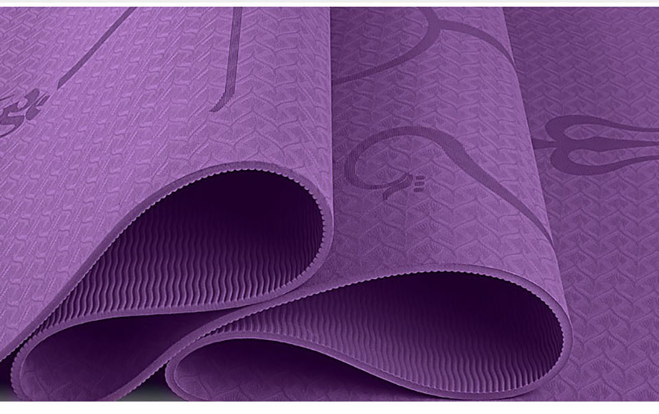 TPE Yoga Mat with Position Lines 4