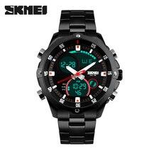 SKMEI 2016 Nuevos Hombres de la Moda Relojes hombres de Acero Completo Reloj de Cuarzo Horas Analógico Digital LED Reloj de Pulsera Deportivo Militar reloj