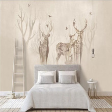 Factory direct Nordic Elk Forest, vintage background wall hand painted watercolor, TV, bedroom, living room wall цены