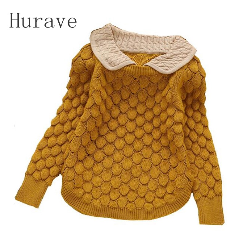 Hurave 2017 New Brand Fashion Kids Clothes Girls Flower Children Sweater Girls Pullovers Girl Sweaters