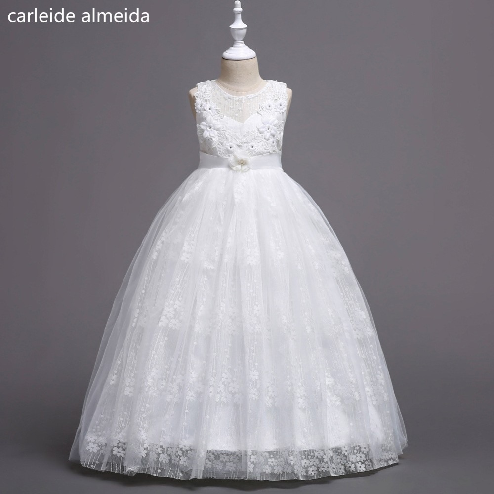 Lace & Tulle A-Line   Flower     Girl     Dresses   for Party and Wedding Satin Belt Long Communion   dresses     Girls     Dress   2018