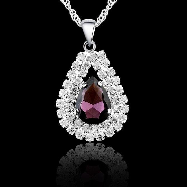 925 Sterling Silver Bridal Wedding Jewelry Sets Fine Water Drop Pendants Necklaces Earring Set  2