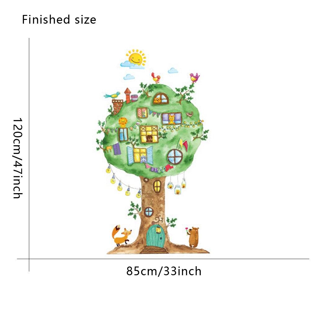 Wanddecoratie Babykamer Boom.Cartoon Boom Huis Vinyl Muurstickers Voor Kinderkamer Kleuterschool