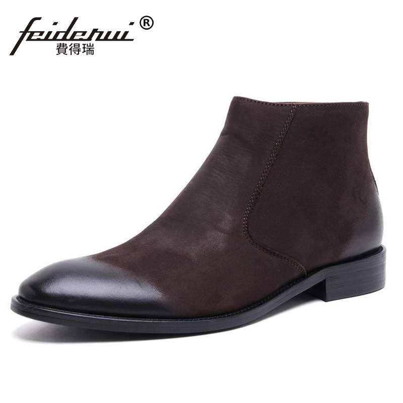New Arrival Suede High-Top Man Basic Luxury Brand Shoes Designer Genuine Leather Round Toe Men's Cowboy Martin Ankle Boots JD84 krusdan luxury brand platform man handmad outdoor ankle boots genuine leather round toe classic men s cowboy martin shoes