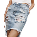 2016 Nueva Sexy Summer Mini Mujeres rasgado Agujero Washed Denim Faldas Plus Size saias jupe XDWM622
