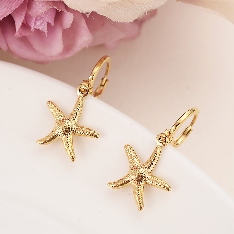 Gold drop  Earring cute starfish  For Women Birthday Gift Trendy Gold Color Beautiful Engagement /Wedding Bands Promise Earring gold earrings for women