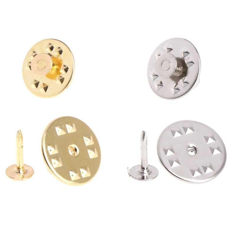 100Pcs Tie Tack Clutch Pin Bulat Kupu-kupu Kuningan DIY Kerajinan Tangan Perhiasan Pengganti