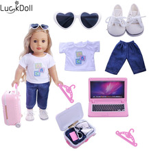 Luckydoll Mini Doll Clothes 6pcs fit 18-inch American Accessories, Best Christmas Gift for Children (5 hangers)