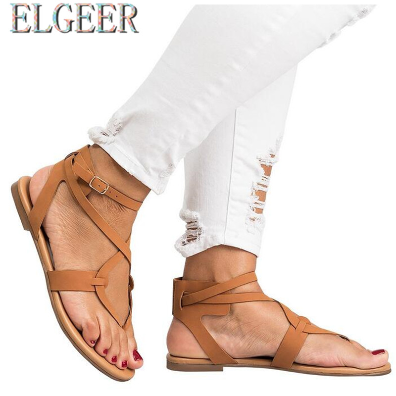 2018 summer new thin with female flat sandals flat buckle with buckle - Women's Shoes