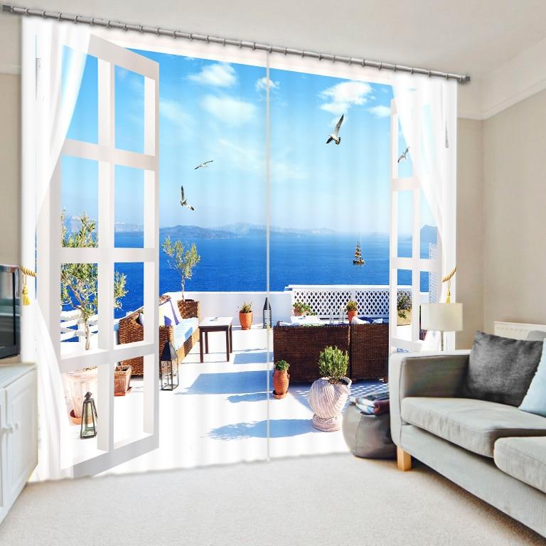 Déplacer la maison à la mer chambre salon cuisine maison Textile luxe 3D fenêtre rideaux cadeau pour la famille-in Rideaux from Maison & Animalerie    1
