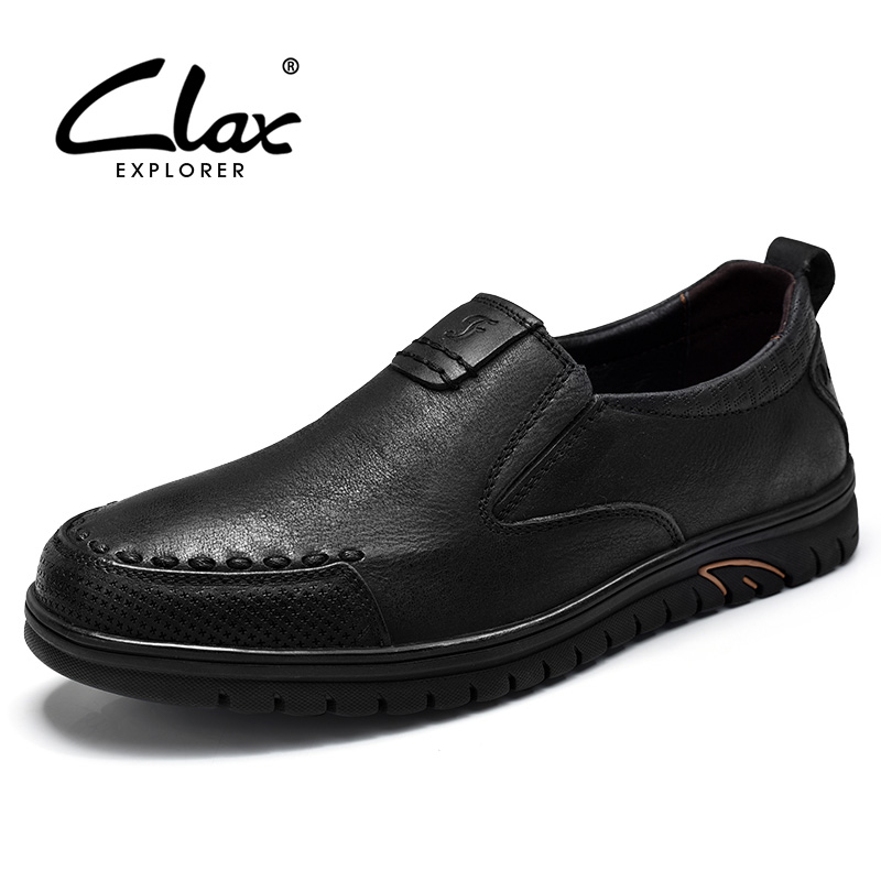 CLAX Men Leather Dress Shoes 2017 Summer Autumn Retro Vintage Formal Shoe Male Genuine Leather Footwear Slip on Casual Loafers clax men shoes luxury brand loafers genuine leather male driving shoes slip on black dress shoe moccasin designer classical