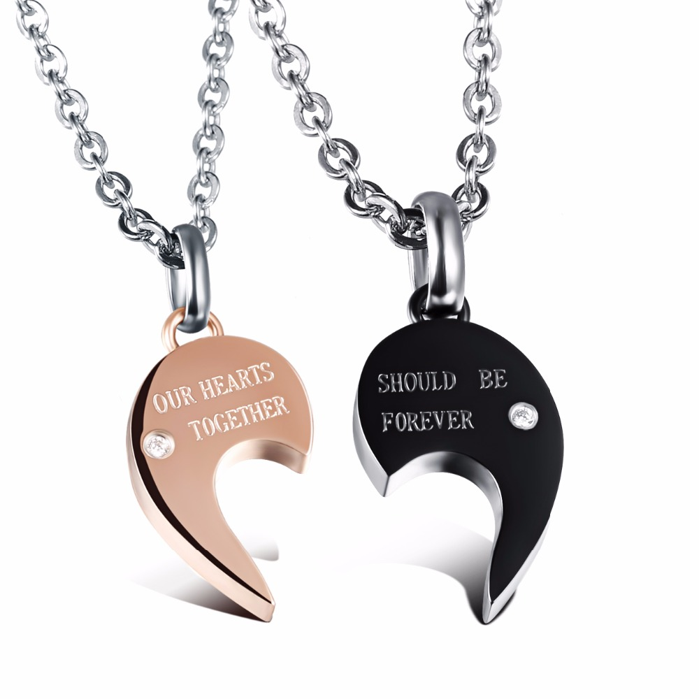 His And Hers Split Heart Matching Couple Necklaces For