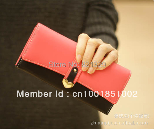 2013 New Korean love Heart buckle lady's purse female hit-color two-fold wallet Handbag Noble Luxurious Free Shipping